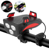 XANES® 4-en-1 400LM Bike Light + USB Horn Lamp + Phone Hold + Power Bank 3 Modes LED Phare 5 Modes Horn Waterproof Cycling Bicycle
