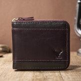 E Ekphero Erkekler Hakiki Deri RFID Anti-hırsızlık Fermuar Retro İş Çoklu Kart Yuvası Deri kartlıklı cüzdan
