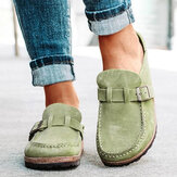 Women Casual Comfy Suede Large Size Round Toe Backless Flats