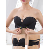 Wireless Front Closure Solid Color Seamless Beauty Comfort Bandeau Strapless Bras
