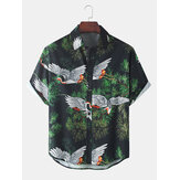Mens Crane Planta Print Light Loose Casual Camisas de manga curta
