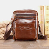 Men Genuine Leather Multi-function Retro Wear-resisant Large Capacity Handbag Shoulder Bag Cross Body Bag