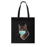 Vrouwen Cute Cat Pattern Mask Casual Canvas Tote schoudertas