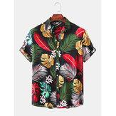 Mænd Tropiske planter Blade Print Button Up Drej ned krave Hawaii Holiday Kortærmet skjorter
