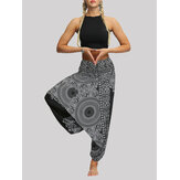 Women High Waist Vintage Flower Print Black Loose Yoga Harem Pants