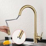 Torneira da pia da cozinha de ouro escovado Retire a torneira de água Torneira misturadora monocomando 360 Rotate