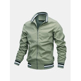 Herre ensfarvet lomme lynlås stativ krave Sport afslappet langærmet jakker