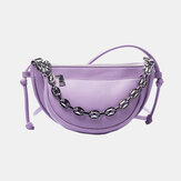Women 2PCS Irregular Shape Solid Chain Saddle Bag Shoulder Bag
