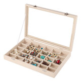 Bakeey 30 Grids Velour with Skylight Jewelry Box Ring Jewellery Display Collection Storage Box