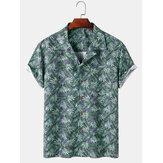 Tropical Leaves Print Mens Hawaii Casual Revere Collar Camisetas de manga corta