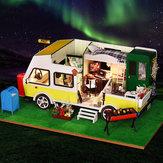 iiecreate K-037 DIY-poppenhuis Vrije tijd Recreatief voertuig met omslagmuziek