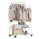 82x18x5cm Heavy-duty metalen kledingstuk met dubbele rails, hangend rek voor kleding en plank