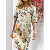 Women Vintage Cotton Floral Plant Print O-neck Half Sleeve Split Casual Dress