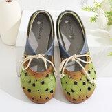 SOCOFY Удобный кожаный полый круглый носок Soft Подошвы-мулы на шнуровке Плоские туфли