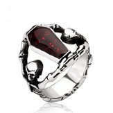 Retro Gothic Titanium Steel Men Anel Vampire Coffin Punk Halloween Gift para Homens