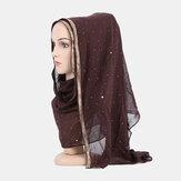 وشاح شيفون حجاب مطرز بالخرز طويل