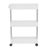 3-Tier Storage Rack with Wheels for Kitchen Trolley Bathroom Mobile Stand