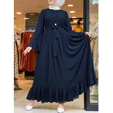 Casual effen kleur flare mouwen Lace-up chiffon losse moslim maxi-jurk
