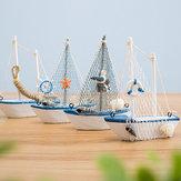 Styl śródziemnomorski 14 cm Model łodzi żaglowej Handmade Kreatywna dekoracja domu Dekoracja Ornament