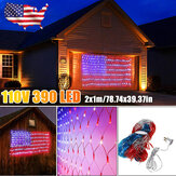 AC110V 2 m * 1 m American Flag Netto Lampa Wodoodporna 390LED String Light Outdoor Yard Home Holiday Decoration