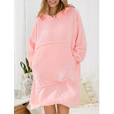 Women Flannel Thicken Blanket Hoodie Cozy Oversized Robe With Large Pocket