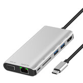 8-in-1 USB Type C Hub Adapter with Ethernet Port 4K HDMI SD Card Reader USB-C Power Delivery VGA 2 USB 3.0 Ports and Audio