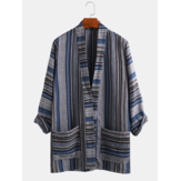 Banggood Design Mens Cotton Vintage Stripe Dual Pocket Kimono Cardigan Shirts
