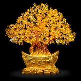 Yellow Feng Shui Crystals Gem Stones Fortune Tree Money Tree Wealth Blessing Home Decorations