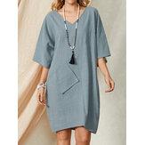 Повседневный однотонный миди с V-образным вырезом и свободным карманом до половины рукава Платье