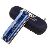 7PCS Easttop T008K 10 Hole Blues Harmonica Tone ABCDEFG Cor Azul Para Iniciantes