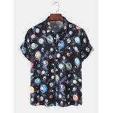 Pamuklu Erkek Galaxy Baskı Yaka Kısa Kollu Deisgn Gömlek