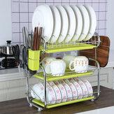 Suporte de secagem de talheres para pratos de armazenamento de cozinha de 3 camadas Bandeja do escorredor de pratos