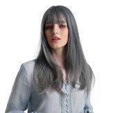Unicórnio loira azul longo em linha reta Cabelo elegante elegante fluindo sintético de seda de alta temperatura Peruca adequado para mulheres afro-americanas