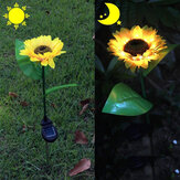 2 Pcs Sunflower Outdoor Solar Power LED Flower Light Waterproof Chrysanthemum Flower Stake Lamp Home Garden Yard Lawn Path Decor