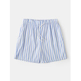 Men Lightweight Casual Striped Shorts Drawstring Swim Trunks Summer Breathable Shorts