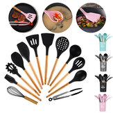 9/11/12PCS Silicone Cooking Utensils Set Non-stick Spatula Shovel Wooden Handle Cooking Tools Set With Storage Box Kitchen Tools