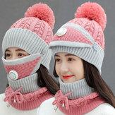 Mujeres 3PCS Lana Plus Terciopelo Espesar Cálido A prueba de viento Cuello Protección facial Montar tejido Sombrero Mascara Bufanda