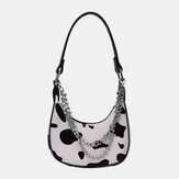 Women Cow Pattern Casual Stylish Chain Tote Shoulder Bag Handbag