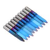 Drillpro 10pcs 0.1-1.5mm 30 Degree PCB Engraving Bit Blue Nano Coated Carbide CNC Flat Bottom Engraving Bit Router Tool