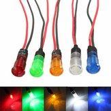 12v 8 millimetri LED spia cruscotto luce rossa blu giallo bianco verde con filo