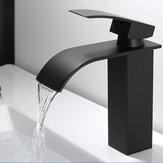 Waterfall Black Banheiro Basin Faucet Single Lever Single Hole Lavagem Quente e Fria Torneira Banheiro
