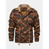 Mens Camouflage Drawstring Waist Hooded PU Leather Jacket