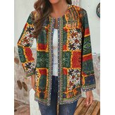 Ethnic Style Floral Print Patchwork Long Sleeve Vintage Coats With Pockets