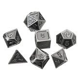 Embossed Steel 7 Pcs Multisided Dice Heavy Metal Polyhedral Dice Set w/ Bag