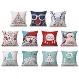 Funda de cojín de lino de Navidad 45 * 45 Funda de almohada Cojines para sofá Almohada Caso Decoración para el hogar Regalo festivo