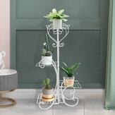 4 Tier Metal Prateleiras Vaso de flores Planta Suporte Planta Expositor Suporte de rack Interior Exterior Casa Jardim Decoração de pátio