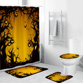 Halloween Series Decorative Toys Bathroom Toilet Cover+Non-slip Pedestal Rug+Bath Mat / Waterproof Shower Curtain Halloween Style