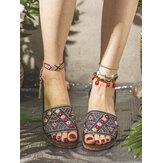 LOSTISY Kadın Nakış Dekorasyon Örme Günlük Sandaletler