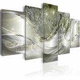 5pcsハンギングペインティングライトグリーンキャンバスウォールアートプリントペインティング家の装飾抽象的なウォールアート絵の装飾