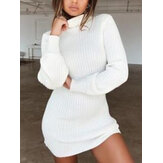Women High Neck Solid Color Long Sleeve Casual Sweater Dress